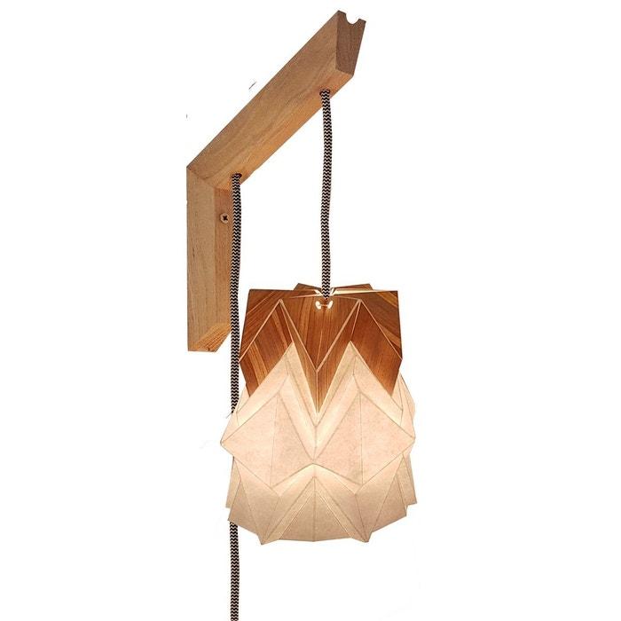 applique murale bois et suspension origami design en papier et tronc de bananier blanc tedzukuri. Black Bedroom Furniture Sets. Home Design Ideas
