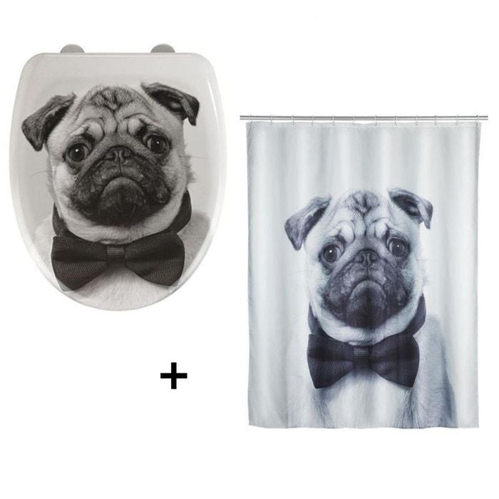Accessoires de salle de bain abattant wc et rideau de douche chien blanc et gris blanc wenko - Accessoire salle de bain gris ...