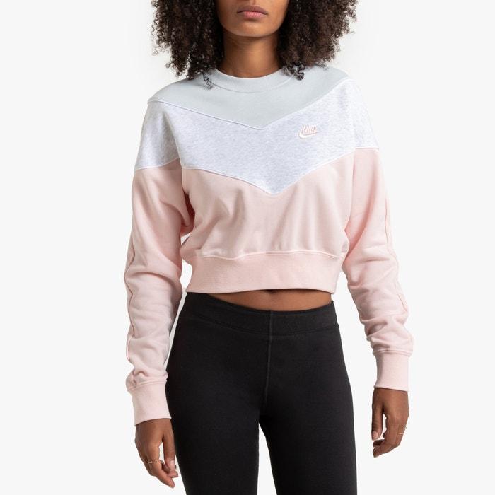 Sweatshirt in Cropped Form, dreifarbig, runder Ausschnitt