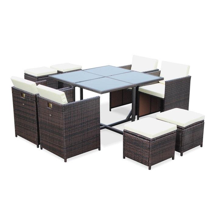 Salon de jardin cubo chocolat table en r sine tress e 4 for La redoute salon jardin