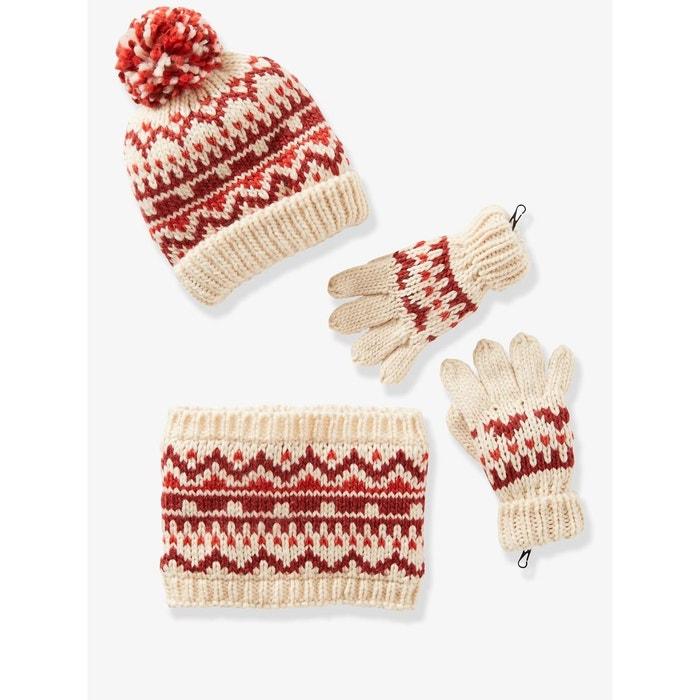 74230fd460c Bonnet fille + snood + gants ou moufles jacquard rouge imprimé Vertbaudet
