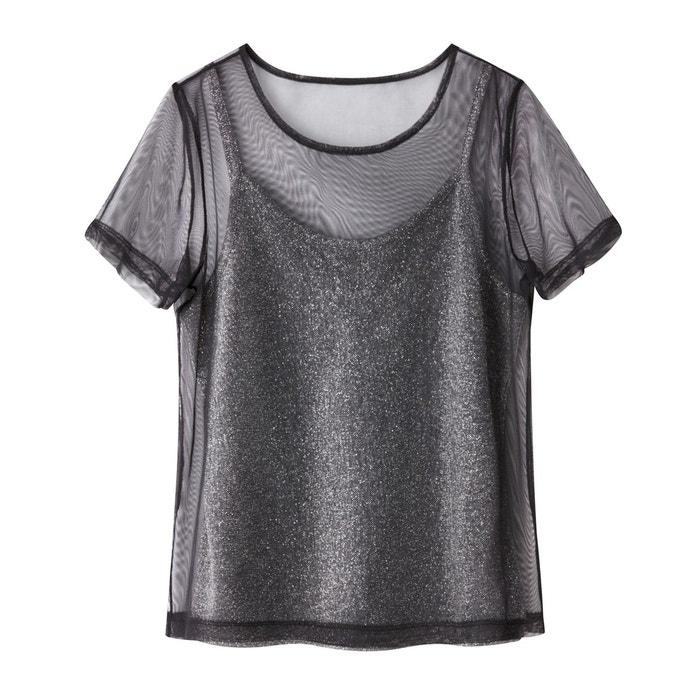Tshirt 2 en 1 résille avec débardeur fil métallisé