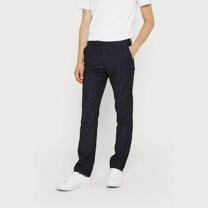 pantalon slim fit motif prince de galles bleu marine. Black Bedroom Furniture Sets. Home Design Ideas