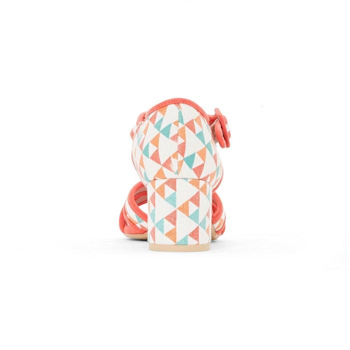 Sandales imprimé graphique imprimé corail Mademoiselle R
