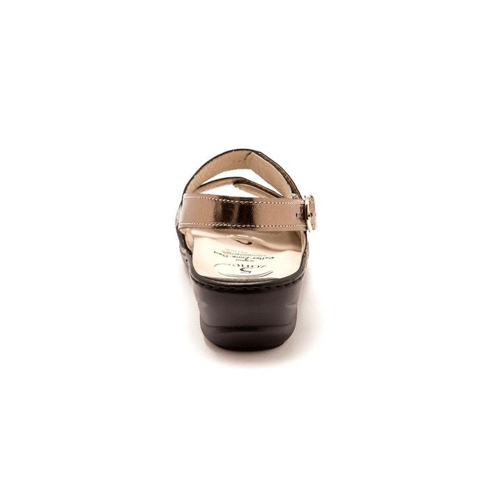 1f1f7302960654 ... Sandales semelles massantes spécial hallux valgus marron métallisé  Pediconfort ...