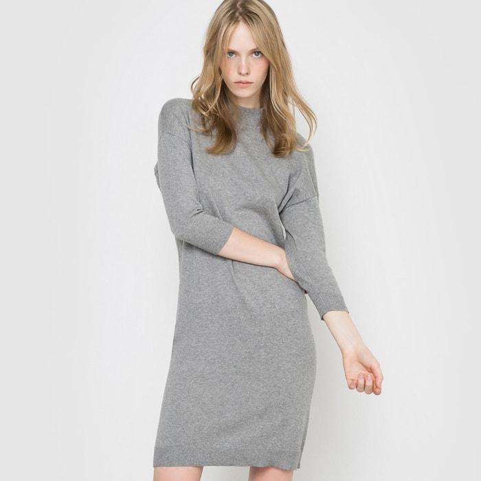 afbeelding Trui-jurk met opstaande kraag, katoen en kasjmier R essentiel