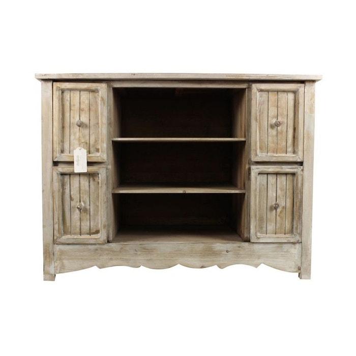 Meuble bas rangement bois ceruse blanc 4 tiroirs for Meuble tv bois ceruse blanc
