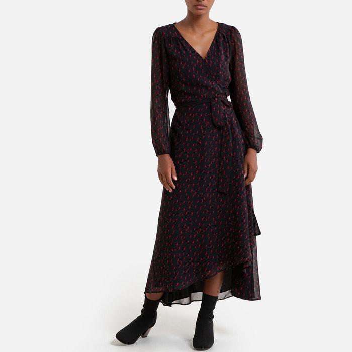 Robe Longue Imprimee Manches Longues Noir Rouge Ikks La Redoute