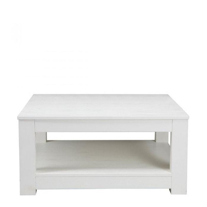 Table basse en ch ne 85x85cm carr e gerarda blanc drawer for Table exterieur la redoute
