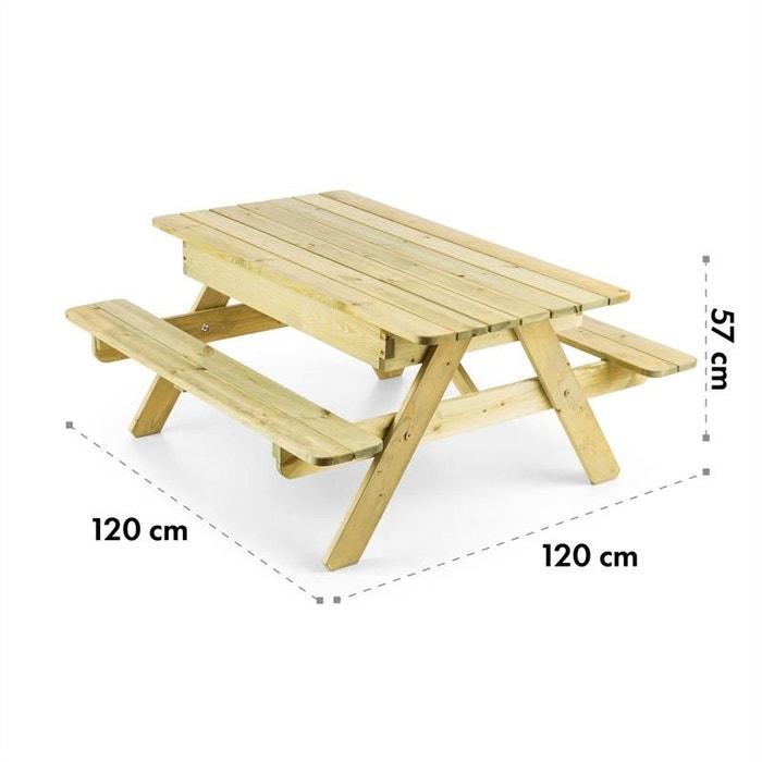 Blumfeldt Table de jeux ou pique nique pour enfants avec banc intégré bois