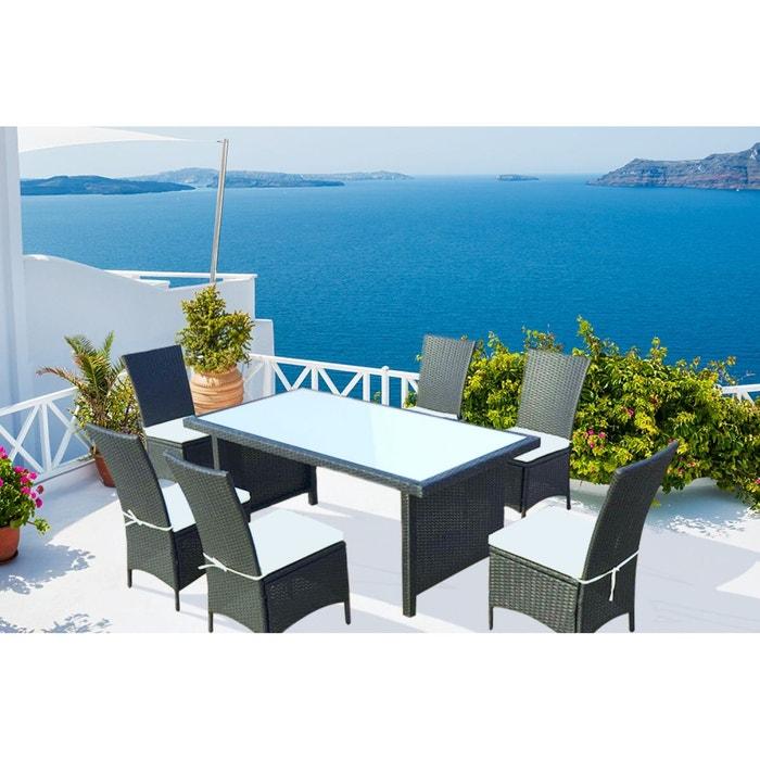 Zagora 6 table de jardin 8 personnes 6 chaises en - La redoute table de jardin en resine tressee ...
