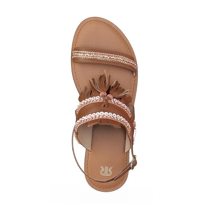 Sandales cuir détail pompons camel/rose La Redoute Collections