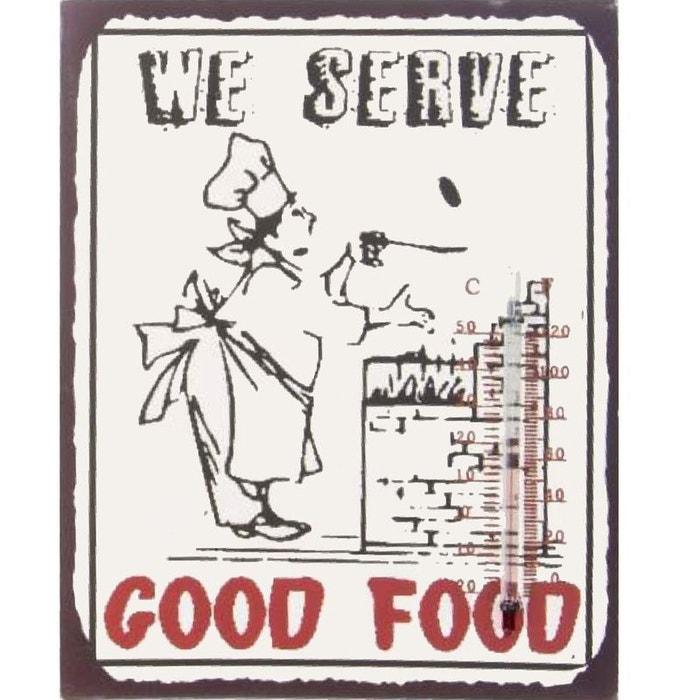 Plaque m tallique thermom tre r tro we serve good food for Plaque metallique cuisine