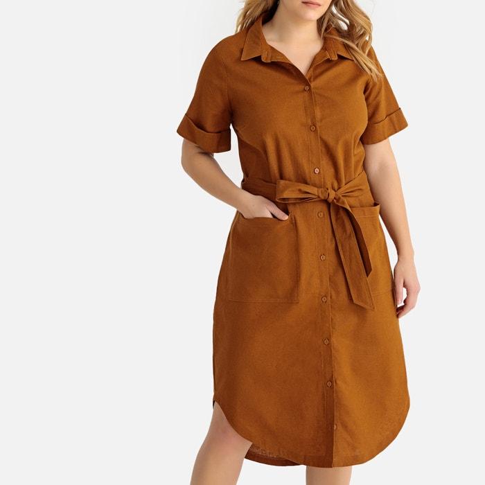 87206816a Vestido camisero de lino mezclado