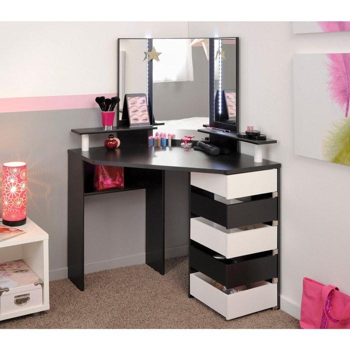 coiffeuse d 39 angle blanche et noire noir terre de nuit la redoute. Black Bedroom Furniture Sets. Home Design Ideas