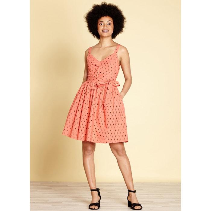 Graphic Print Cotton Skater Dress  YUMI image 0