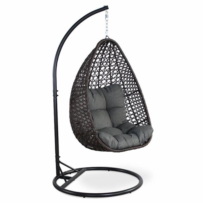 fauteuil suspendu uovo en r sine tress e marron et coussin pais gris loveuse suspendue en. Black Bedroom Furniture Sets. Home Design Ideas