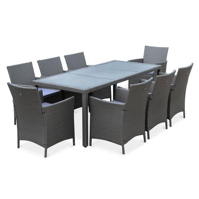 Salon de jardin Tavola 8 en résine tressée, table d\'extérieur 195cm avec 8  fauteuils