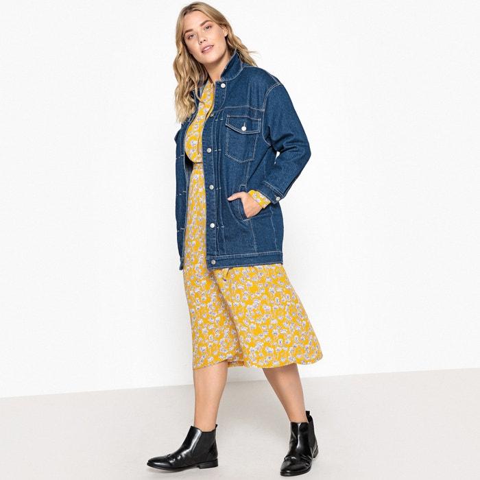 f047e2e950a80 Longline floral embroidered back denim jacket