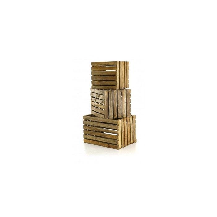 lot de 3 caisses bois recycl noldor beige zago la redoute. Black Bedroom Furniture Sets. Home Design Ideas