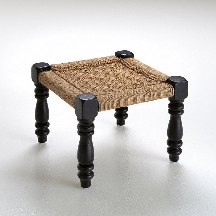 afbeelding Taboeret in hout en koord, Indische stijl, Adas La Redoute Interieurs