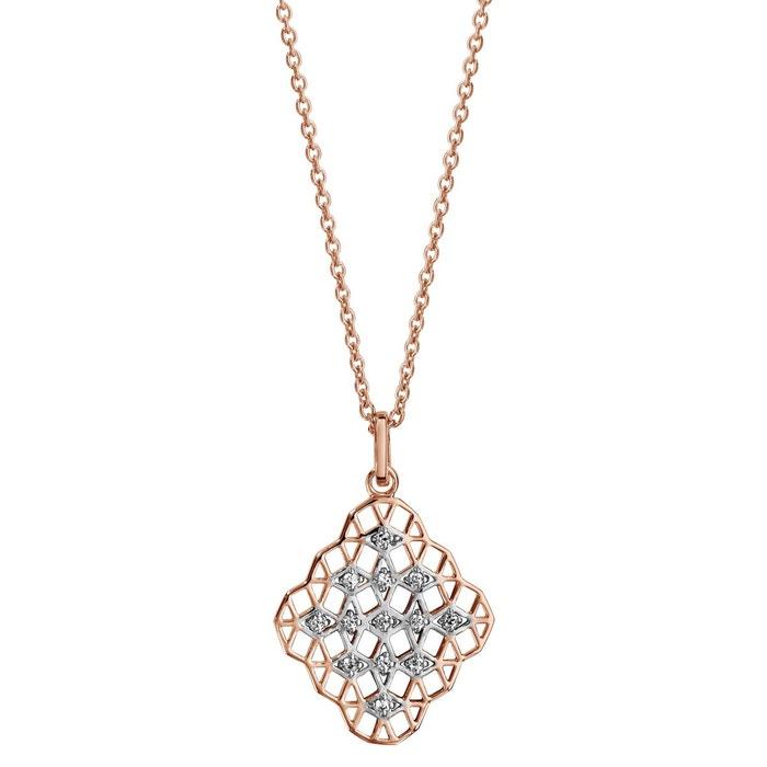 Collier longueur réglable: 42 à 45 cm rose pendentif oxyde de zirconium blanc plaqué or 750 couleur unique So Chic Bijoux | La Redoute