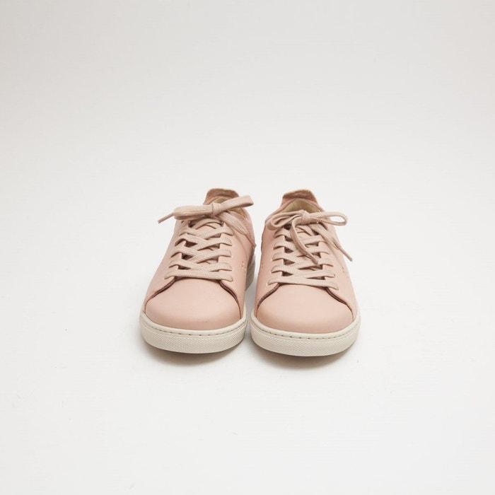 Baskets en cuir renée rose pâle M. Moustache