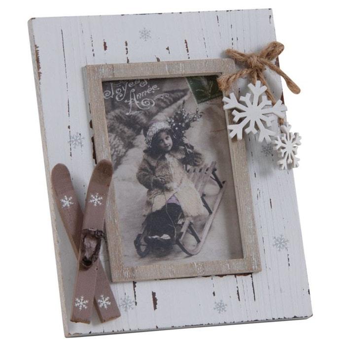 cadre photo montagne en bois vieilli 1 photo blanc aubry gaspard la redoute. Black Bedroom Furniture Sets. Home Design Ideas