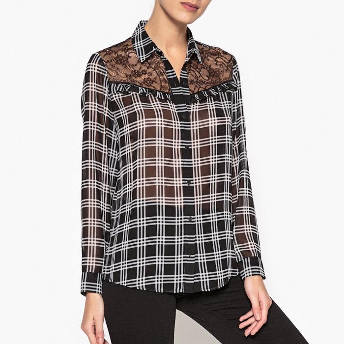 chemise col polo chemise manches longues the kooples noir blanc la redoute. Black Bedroom Furniture Sets. Home Design Ideas