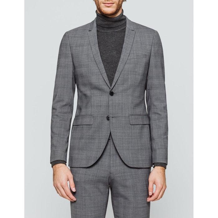 Veste de costume slim à carreaux en laine gris carreaux Brice   La Redoute 733d4fc8e10