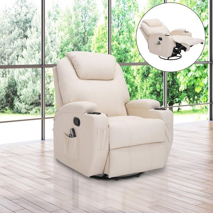 Fauteuil relaxation massant simili cuir beige beige Hom