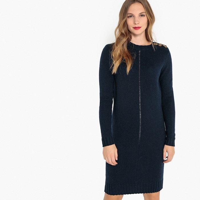 Платье-пуловер ажурное с оригинальными пуговицами