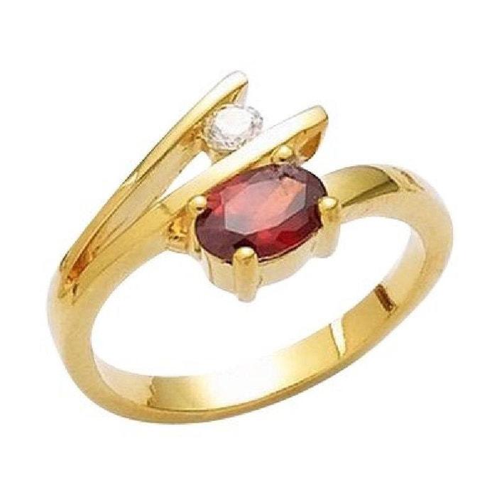 Bague anneau duo rouge   blanc plaqué or 750 So Chic Bijoux   La Redoute e692b9c84a95