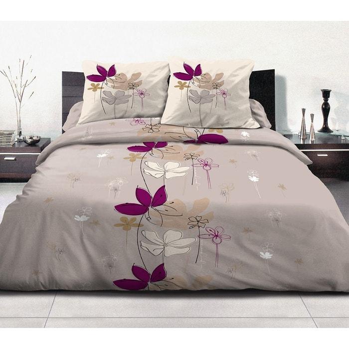 housse de couette 240x260 en sc ne gris 2 taies coton 57 fils multicolore decoratie la redoute. Black Bedroom Furniture Sets. Home Design Ideas
