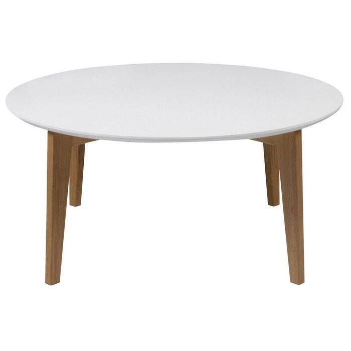 Table Basse Design Laquée Blanc Mat Et Bois Naturel Largo Blanc