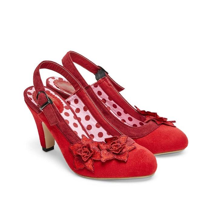 Chaussures à bride arrière avec fleurs décoratives joe browns femme rouge Joe Browns