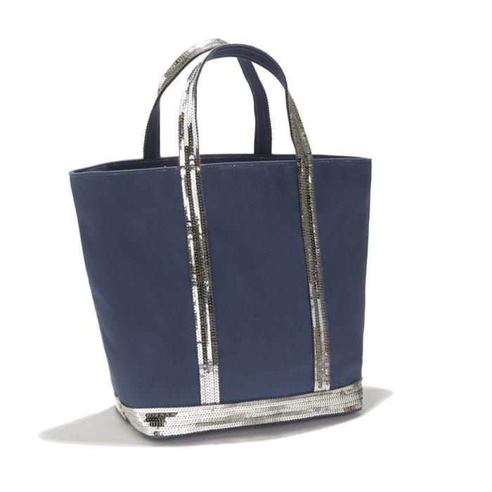 5e262be329d1 Сумка-шоппер среднего размера из ткани с блестками темно-синий ...
