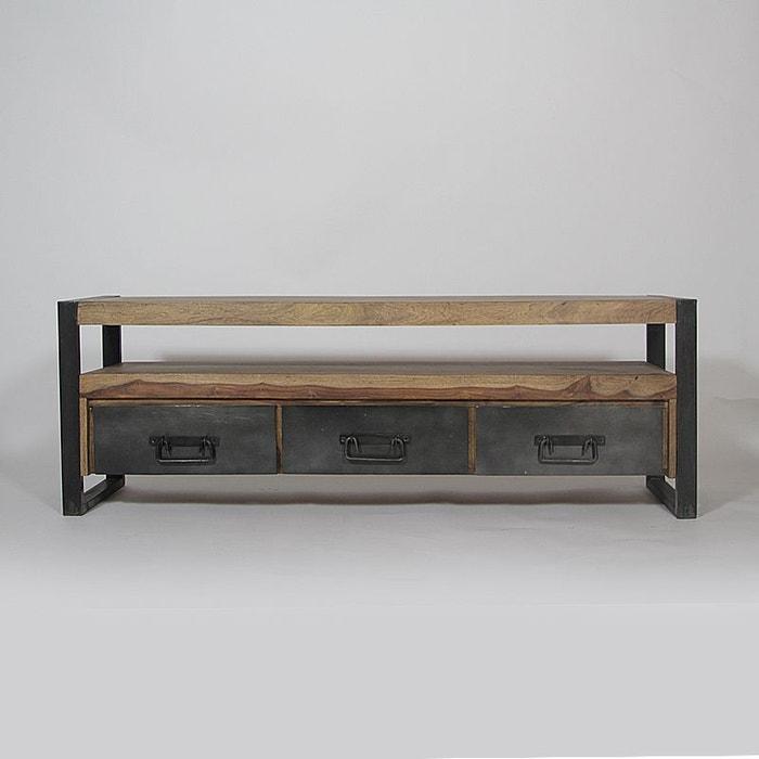 Meuble tv industriel 3 tiroirs en bois de palissandre | ra9a ...