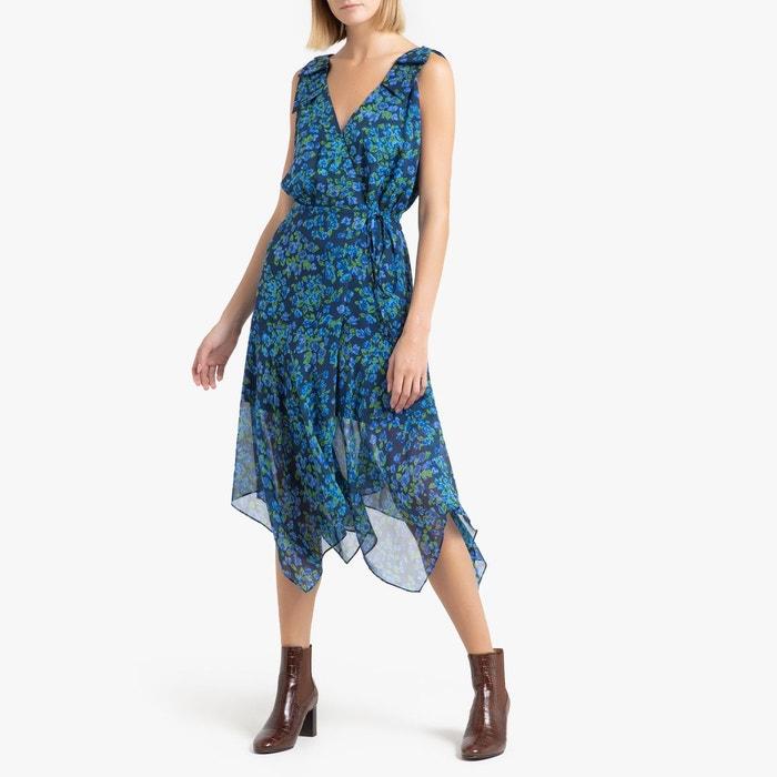 Robe En Mousseline De Soie Imprimee Imprime Bleu The Kooples La Redoute