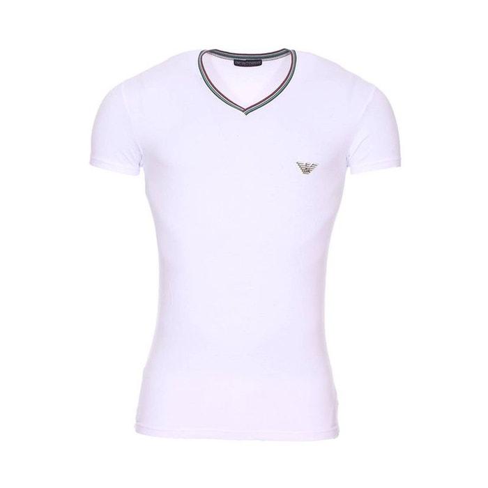 Tee-shirt col v à bande tricolore en coton stretch à logo eagle sur la  poitrine blanc Emporio Armani   La Redoute fccb4dd8a35