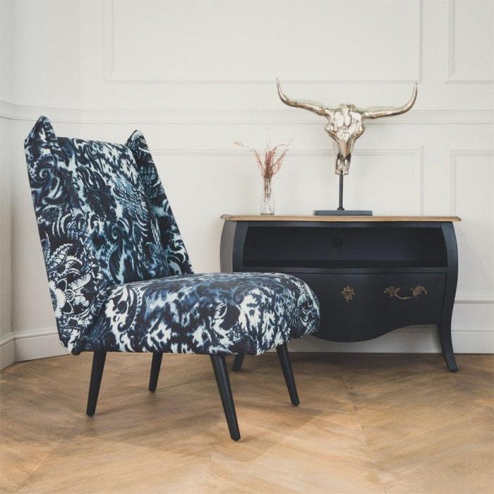 fauteuil chauffeuse imma tissu vintage bleu encre robin des bois la redoute. Black Bedroom Furniture Sets. Home Design Ideas