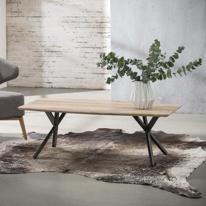 Table Basse Moderne Bois Naturel Et Pieds Metal Style Contemporain 120x60cm Helsinki