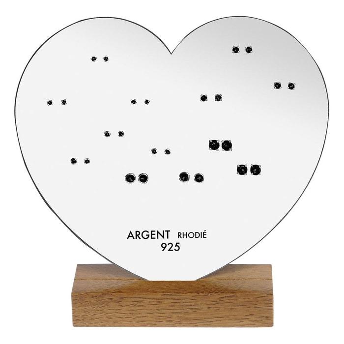 Lot boucles d'oreilles coeur 13 paires oxyde de zirconium noir argent 925 couleur unique So Chic Bijoux | La Redoute