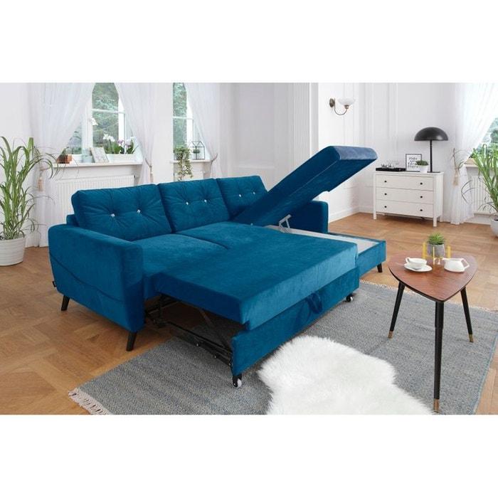 Canapé d\'angle droit scandi convertible coffre édition limitée bleu ...