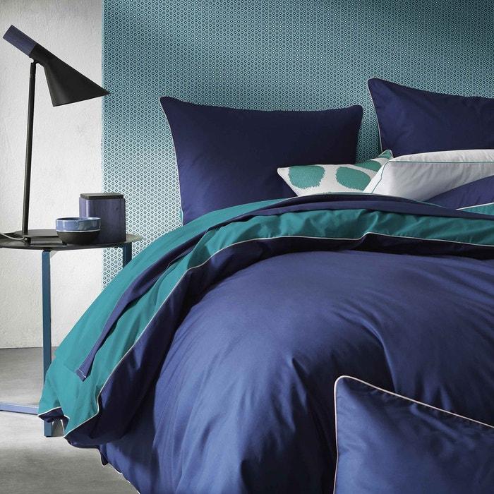 housse de couette bicolore en percale blanc cerise la redoute. Black Bedroom Furniture Sets. Home Design Ideas
