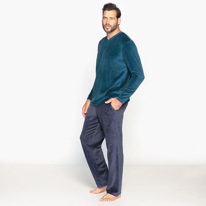 pyjama en velours ras bleu canard bleu marine castaluna for men la redoute. Black Bedroom Furniture Sets. Home Design Ideas