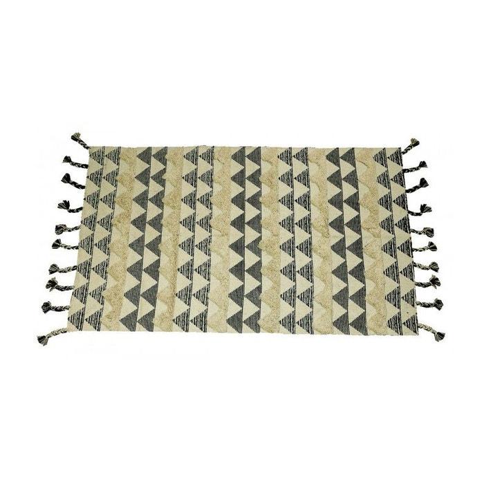 tapis ethnique rectangulaire coton noir et beige 90 150cm noir blanc wadiga la redoute. Black Bedroom Furniture Sets. Home Design Ideas