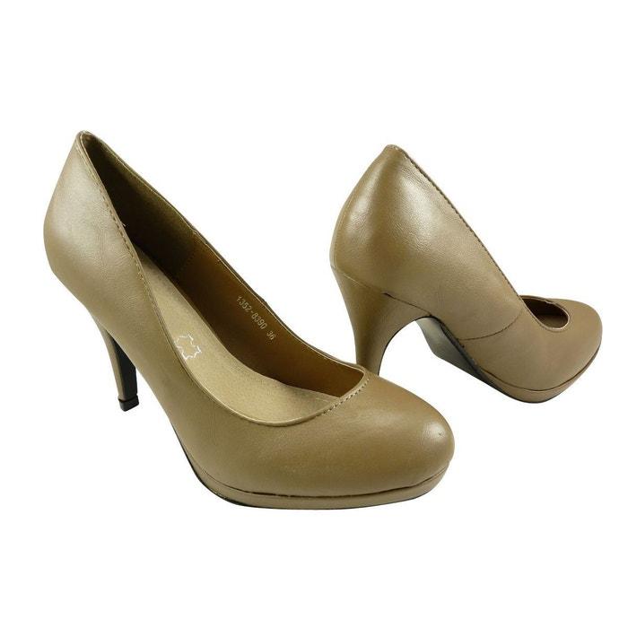 Chaussures femmes, escarpins à plateau et bout rond taupe Chaussmaro