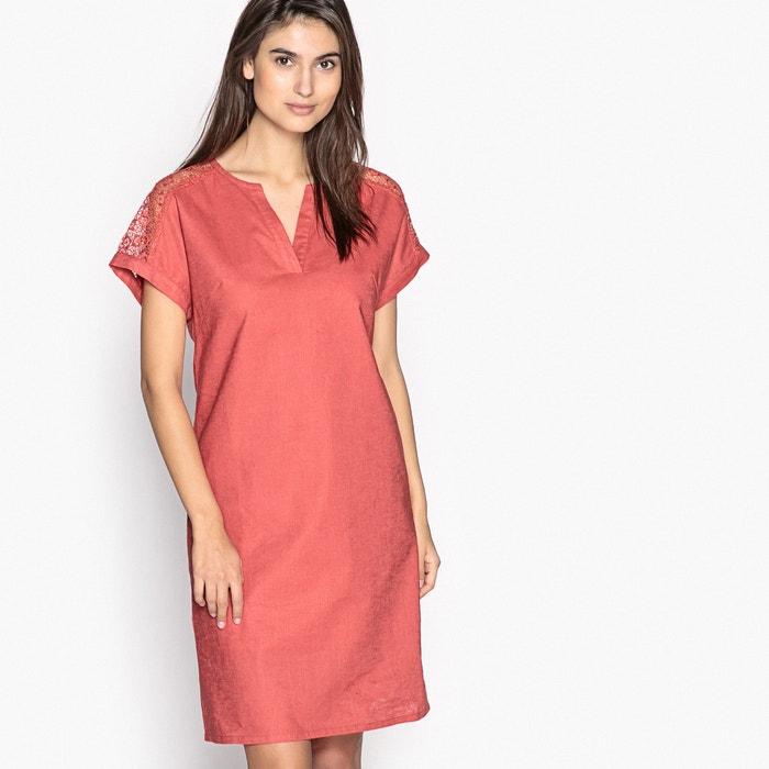 robe droite lin et coton rouge brique anne weyburn la redoute. Black Bedroom Furniture Sets. Home Design Ideas