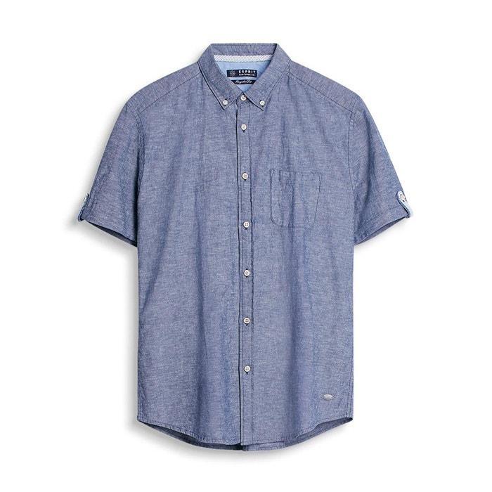 afbeelding Hemd met korte mouwen, katoen/linnen ESPRIT